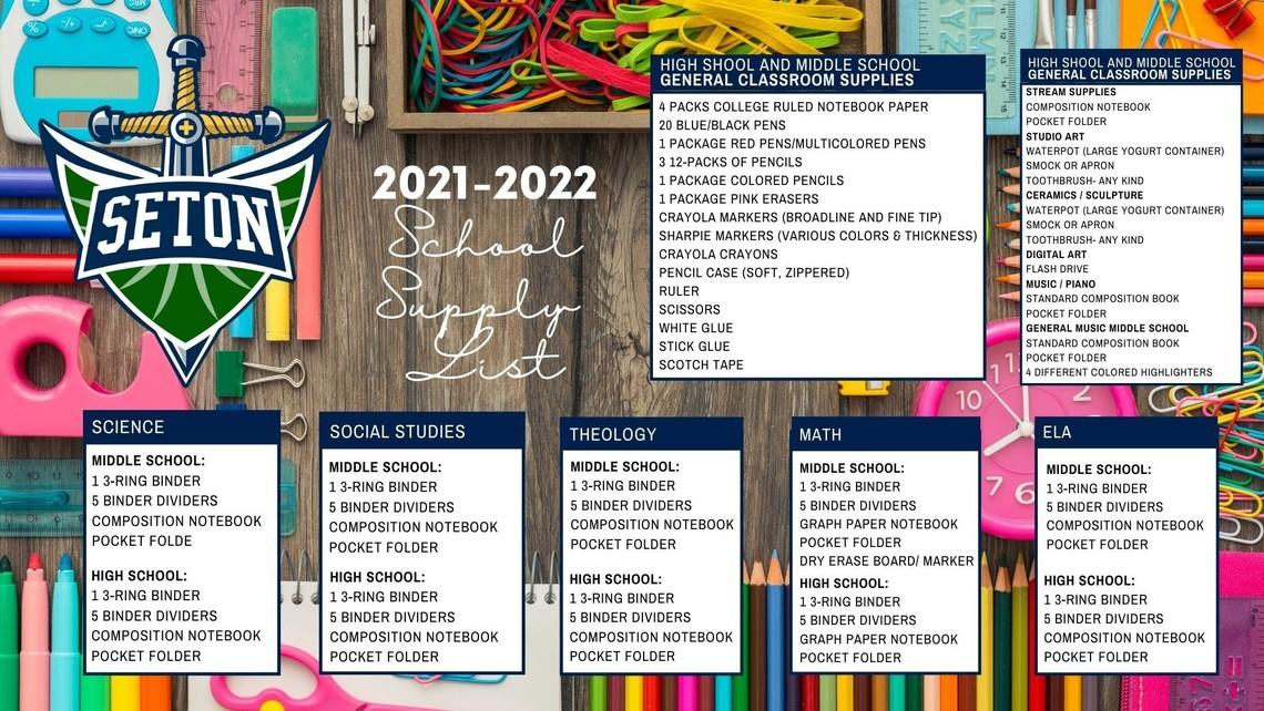 School Supply List 21 22